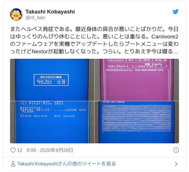 またヘルペス発症である。最近身体の具合が悪いことばかりだ。今日はゆっくりのんびり休むことにした。悪いことは重なる。Carnivore2のファームウェアを実機でアップデートしたらブートメニューは変わったけどNextorが起動しなくなった。つらい。とりあえず今は寝る… pic.twitter.com/uBzVzKzDAP — Takashi Kobayashi (@nf_ban) 2020年9月29日