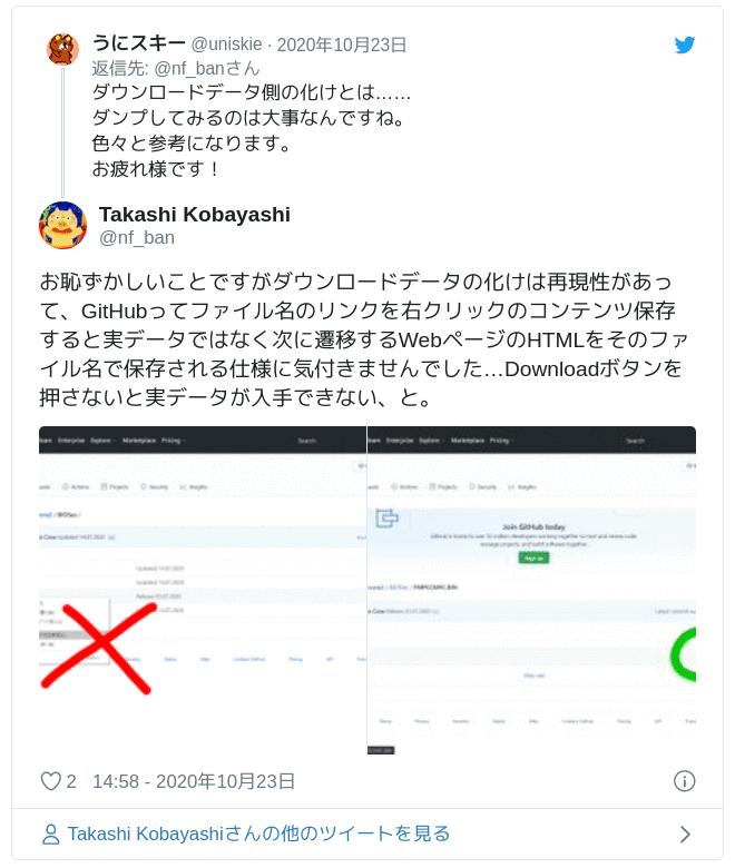 お恥ずかしいことですがダウンロードデータの化けは再現性があって、GitHubってファイル名のリンクを右クリックのコンテンツ保存すると実データではなく次に遷移するWebページのHTMLをそのファイル名で保存される仕様に気付きませんでした…Downloadボタンを押さないと実データが入手できない、と。 pic.twitter.com/5BM8Q0vuUu — Takashi Kobayashi (@nf_ban) 2020年10月23日