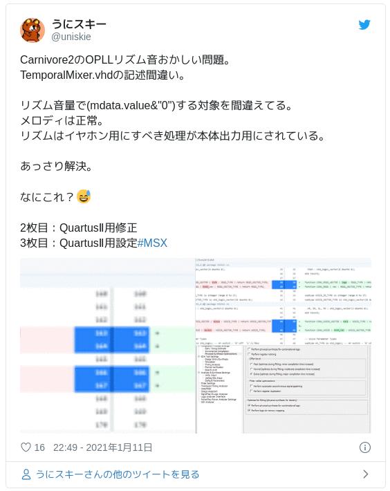 Carnivore2のOPLLリズム音おかしい問題。TemporalMixer.vhdの記述間違い。リズム音量で(mdata.value&