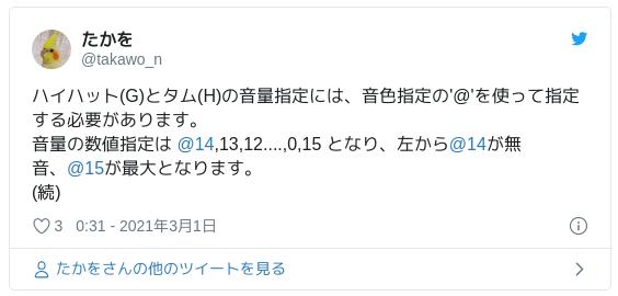 ハイハット(G)とタム(H)の音量指定には、音色指定の'@'を使って指定する必要があります。音量の数値指定は @14,13,12....,0,15 となり、左から@14が無音、@15が最大となります。(続) — たかを (@takawo_n) 2021年3月1日